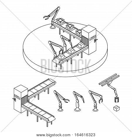 Vector illustration. Set of contour icons of industrial robots and automatic packaging conveyor line. Isometric 3D. Outline
