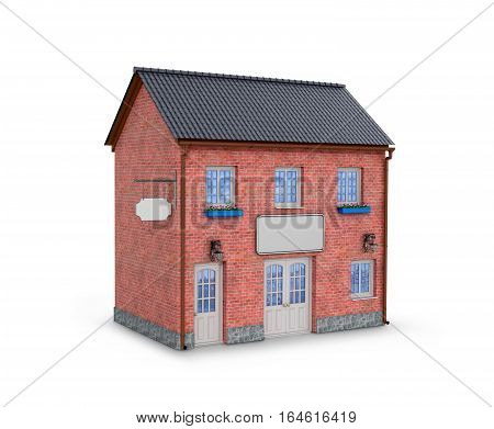 House on a white background. two-story brick house on a white background. 3D illustration