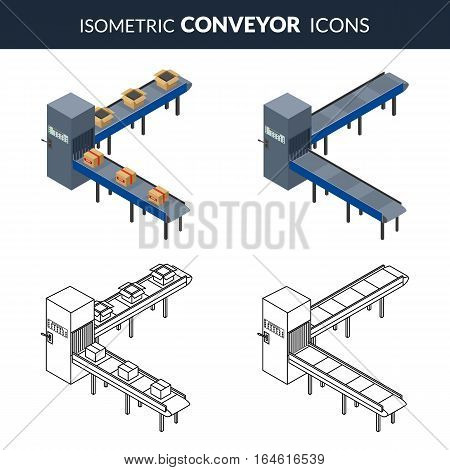Vector illustration. Set icons of automatic conveyor lines for packing of cardboard boxes. Outline and colorful. Isometric 3D
