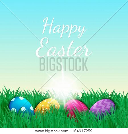 Vector illustration. Colorful decorated Easter eggs on green grass lawn. The sky and the sun. Dawn.