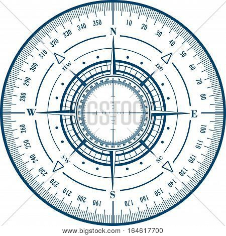 Radar compass rose isolated on white. Vector illustration.