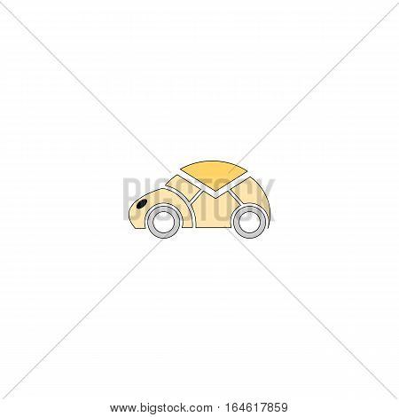 Postal car vector illustration isolated on a white background.