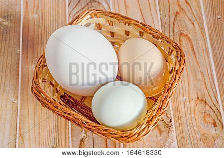 Collection Of Eggs, Large White Goose Egg, Light Green Duck Egg, Light Brown Chicken Egg, Brown Bask
