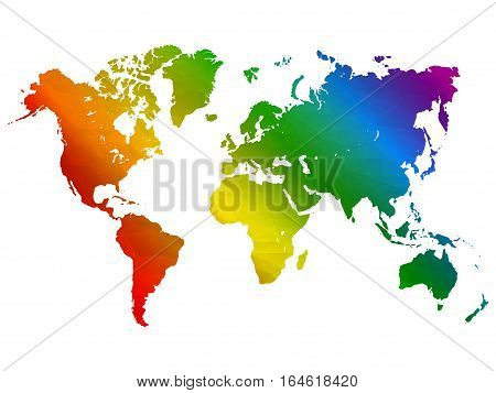 Rainbow world map. Colorful abstract geometrical background with triangular shapes. Vector illustration in LGBT colors. Symbol of peace gay culture. Pride Month low poly style template.