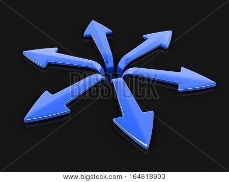 3D Ilustration. 3d image of arrows in different directions. Image with clipping path
