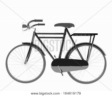 classic black bike on isolated white in 3D render image
