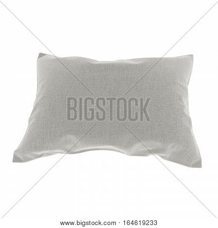 pillow in grey on isolated white in 3D rendering