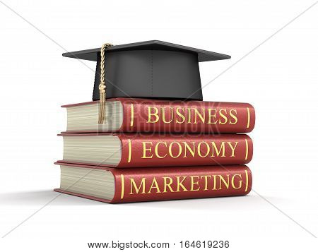3D Ilustration. Graduation cap and Business books. Image with clipping path