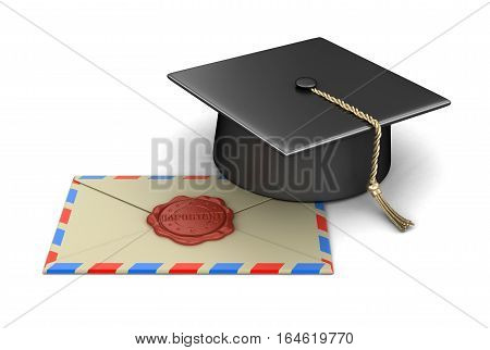 3D Ilustration. Graduation cap and letter with Wax Stamp. Image with clipping path