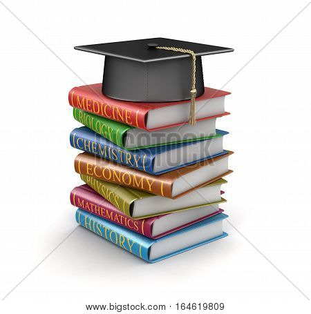 3D Ilustration. Graduation cap and Stack of textbooks. Image with clipping path
