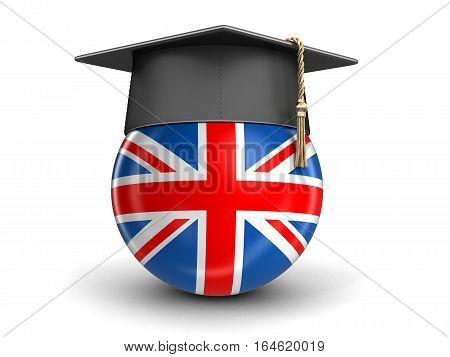 3D Ilustration. Graduation cap and UK flag. Image with clipping path