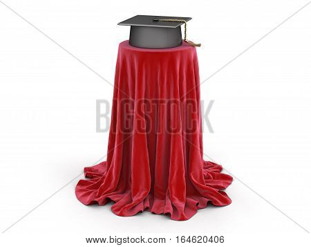 3D Ilustration. Graduation cap on table covered cloth. Image with clipping path