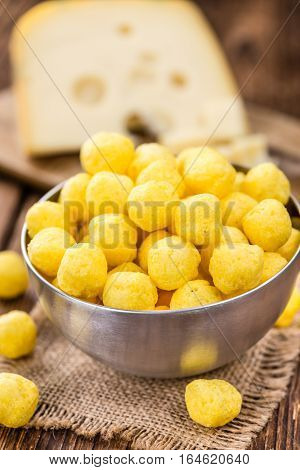 Portion Of Cheese Balls (fried) On Wooden Background (selective Focus)