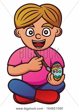 Cartoon illustration of a boy decorating Easter egg. Vector character.