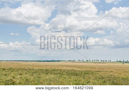 Countryside Field, Meadow, Blue Clouds Sky, Plowed Field, Outdoor.
