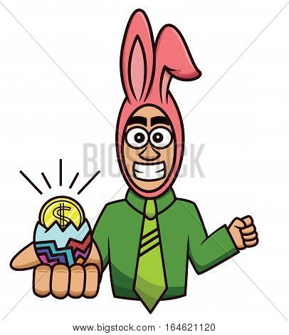 Easter concept cartoon illustration of an excited success businessman in rabbit costume with dollar coin hatching from an Easter egg