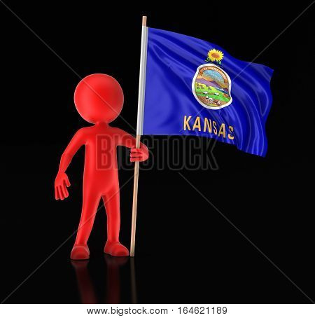 3D Ilustration. Man and flag of the US state of Kansas. Image with clipping path