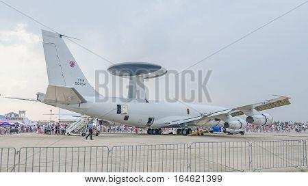 Bucharest, Romania - July 30, 2016. Boeing E-3 Sentry Awacs - Nato - Otan Open For Visitators.