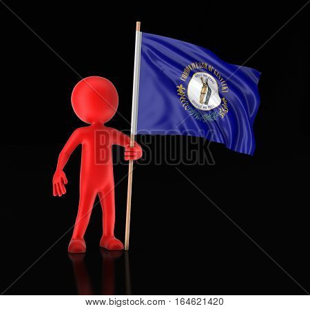 3D Ilustration. Man and flag of the US state of Kentucky. Image with clipping path