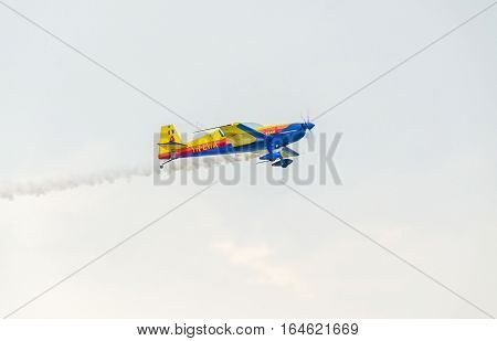 Bucharest, Romania - July 30, 2016. The Romanian Hawks Team Pilot With His Colored Airplane Training