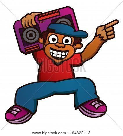 Cartoon illustration of a funny monkey with boombox. Vector animal character.