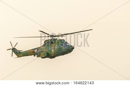 Bucharest, Romania - July 30, 2016. Iar Puma Elicopter Flying In The Sky, Stunt Aerobatic
