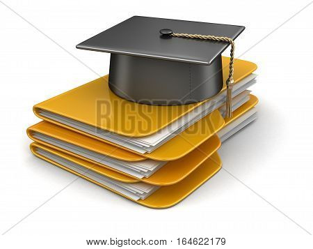 3D Ilustration. Graduation cap on Folders. Image with clipping path