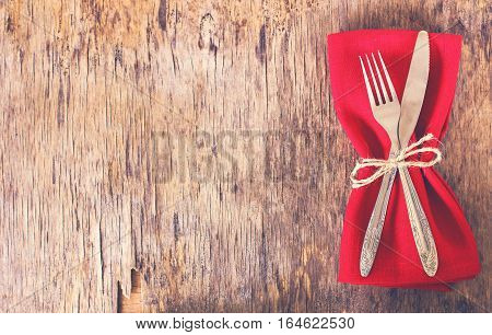 Table Set With Red Napkin.