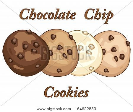 an illustration of four varied chocolate chip cookies on a white background with typeface in an advert format