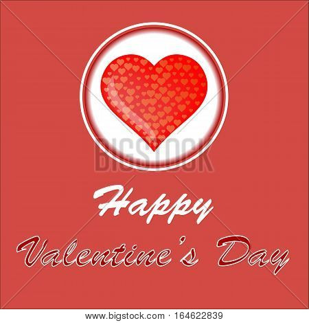 Happy Valentines Day Romantic Banner with Red Heart on White Background.
