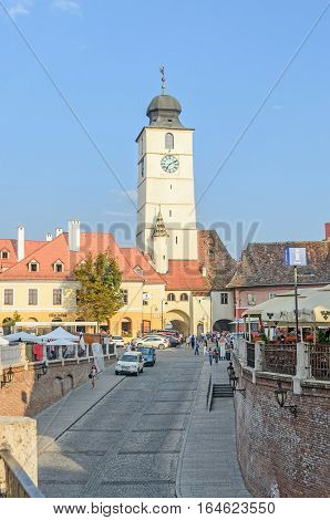 Sibiu, Romania - August 10, 2016: Streets Of The Downtown City With Restaurants And Old Buildings, V