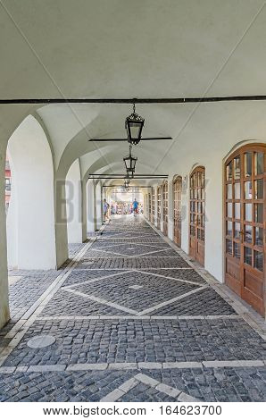 Sibiu, Romania - August 10, 2016: Street Near Downtown Of The City With Vintage Lamps And Old Paving