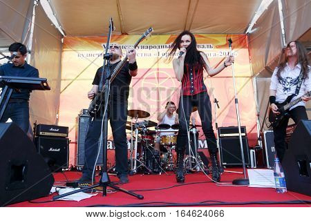 PERM RUSSIA - JUN 12 2016: Vorongrai band performs on street stage during Day of Russia holiday this is public event