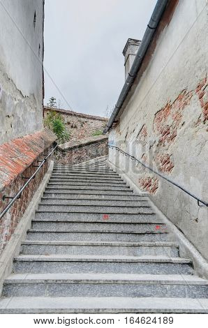 Sibiu, Romania - August 10, 2016: Stairs Near Downtown Of The City. The Connection Between Up City A