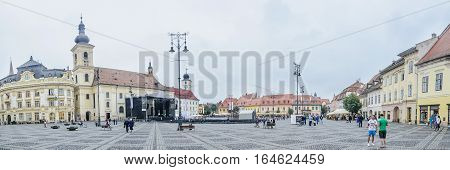 Sibiu, Romania - August 10, 2016: Great Square From Downtown (piata Mare).