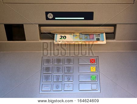 Electronic Keyboard Of An Atm With Money