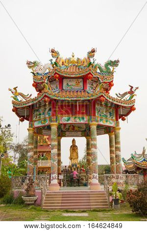 The variety colorful of chinese pavillion in the temple