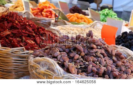 Dried Fruit For Sale At The Fruit Market Of Southern Italy