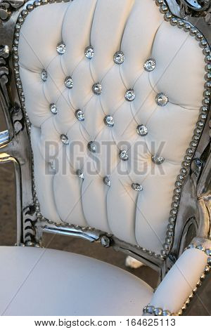 Precious Ancient Chair In White Leather  That Looks Like A Thron