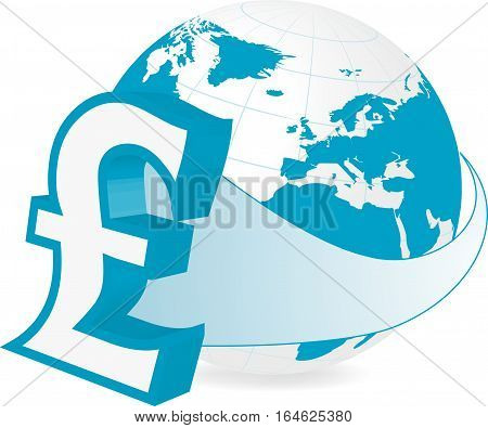 Rastered illustration of earth with pound currency symbol