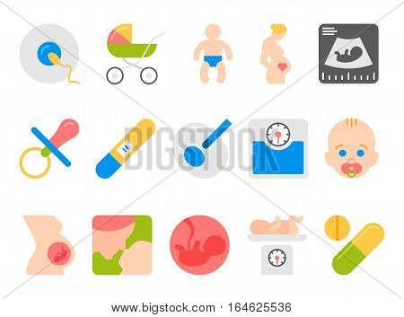 Medicine, pregnancy and motherhood vector flat icons set. Baby and weighing, scales and uzi, health medical and care child, mother birth illustration