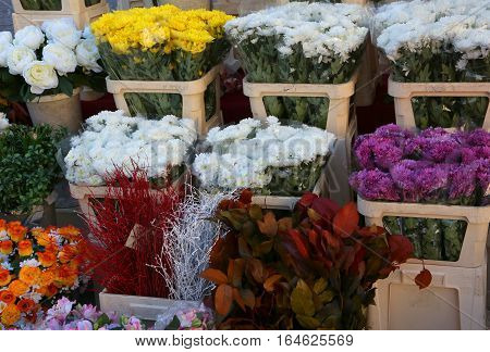 Vessels With Many Flowers For Sale In The Market