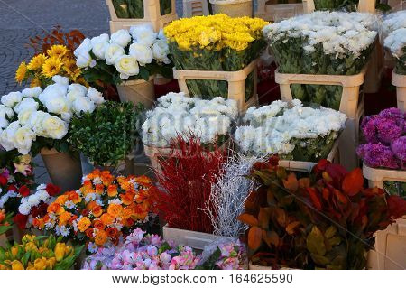 Vessels With Flowers For Sale In The Market