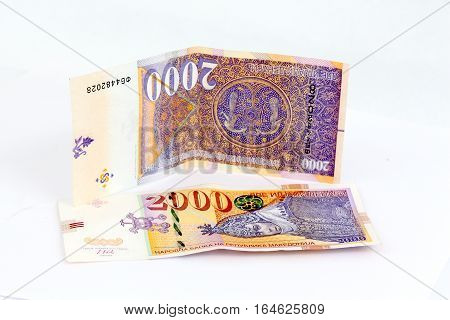 picture of a New Macedonian banknotes of 2000 denars