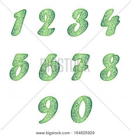 Standard set of numbers. Vector collection in emerald, green color with spangle. Can be used as a design element, independent project, in web draft, etc. Isolated on white background. Square.