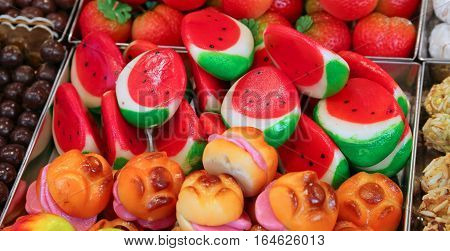 Marzipan Sweets That Look Like Slices Of Watermelon And Sandwich
