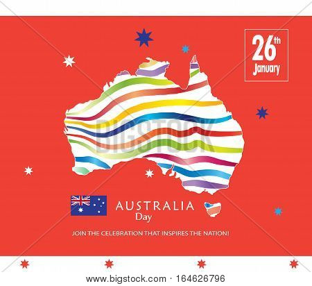 Australia day 26th January inscription poster with Australia map and flag on red background. Greeting card design. Festive Vector illustration.
