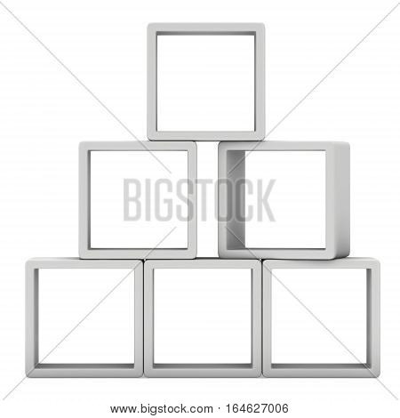 Product display boxes. 3D render isolated on white. Platform or Stand Illustration. Template for Object Presentation.