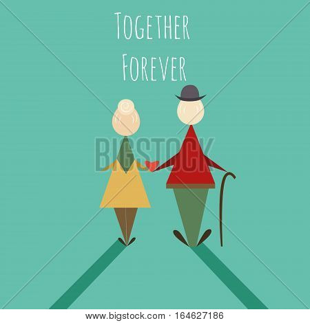 Elderly couple standing, Hold the waist together and looking to sunset. back view. Love and take care together. love forever. character - vector illustration