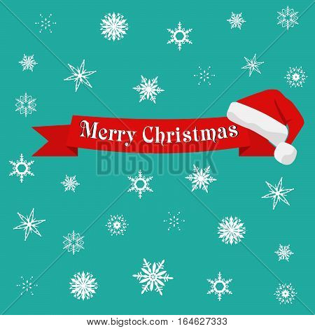 Christmas bakground with Santa hat and ribbon on a snowflakes background